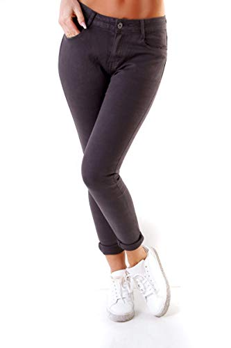 Fashion4Young 4345 Damen Hose Röhre Skinny Treggings Slim Fit Jeans Stretch Denim Übergrößen Slimline (dunkelgrau, 6XL-52)