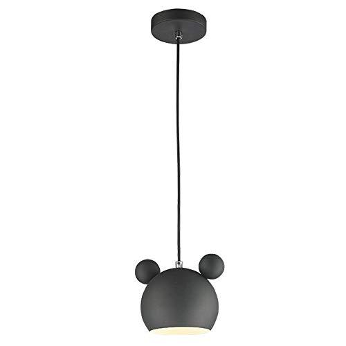 YYM Araña de Dibujos Animados Ratón Lindo Colgante Luminaria Diversión Dormitorio de los niños Lámpara de Techo Sombra Hierro Forjado Luces Colgantes 4 Colores E27 Altura Ajustable,Negro