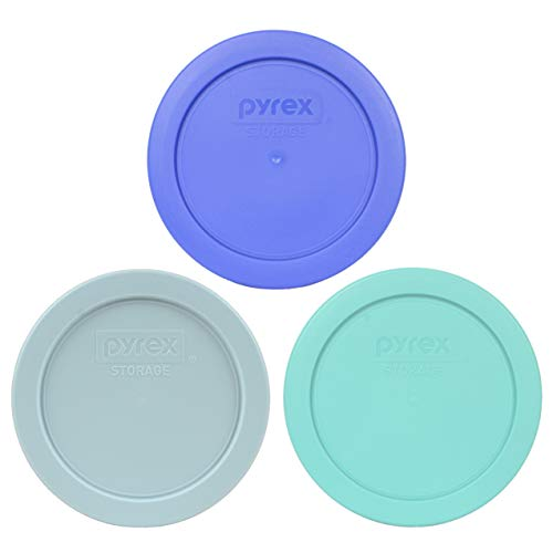 Pyrex 7200-PC 2 cup (1) Amparo Blue (1) Muddy Aqua and (1) Sun Bleached Turquoise Round Plastic Food Storage lids