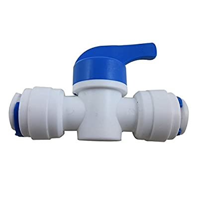 "TmallTech 3/8""x3/8"" Tube Ball Valve Quick Connect Shut Off for RO Water Reverse Osmosis from TmallTech"