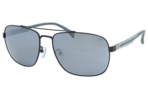 Fila SF8493 531P 60-16-145 - Gafas de sol unisex, color negro semibrillante, lentes espejadas, polarizadas