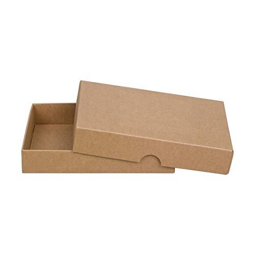 Braune Faltschachtel 10 x 14 cm, Füllhöhe 25 mm, mit Deckel, Kraftkarton, Kraftpapier, für Fotos und Geschenke - 10er Set
