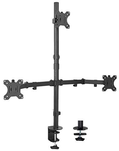 VIVO Triple LCD Monitor Desk Mount Stand Heavy Duty and Fully Adjustable, 3 Screens up to 30 inches (STAND-V003T)