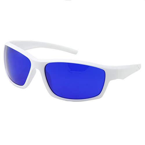 grinderPUNCH Tinted Golf Ball Finder Glasses   Sporty Blue Lens, Wrap Around Sunglasses   100% UV Protection (White)