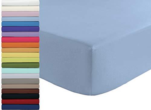 Tata Home Lenzuolo sotto con Angoli ed Elastici 100% Cotone Misura cm 180x210 Letto Matrimoniale Due Piazze Altezza cm 25 Colore Azzurro Made in Italy 57 Fili al cm2
