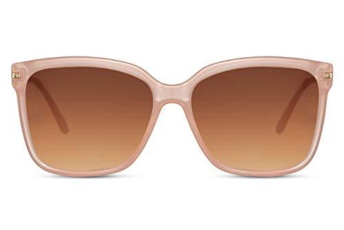 Cheapass Occhiali da Sole Classici Quadrati a Forma di Farfalla Latteo Rosa con Lenti Gradienti Marroni UV400 protetti Forma Perfetta da Donna da Uomo