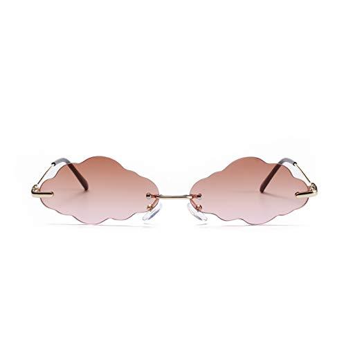 JJCDKL Gafas de Sol sin Montura de Moda Steampunk Gafas rectangulares Mujeres Color Caramelo Marco de Metal Gafas Punk Gafas de Conductor