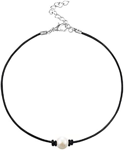 MJartoria Girls Black PU Leather Cord Faux Pearl Choker Necklace product image