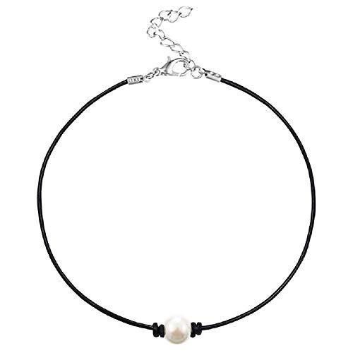 MJartoria Girls Black PU Leather Cord Faux Pearl Choker Necklace