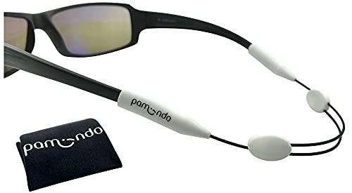 pamindo Brillenband einstellbar für Sport & Freizeit - Sportbrillenband, weiß für Damen, Herren & Kinder - bequem & sicherer Halt - Set mit Brillenputztuch