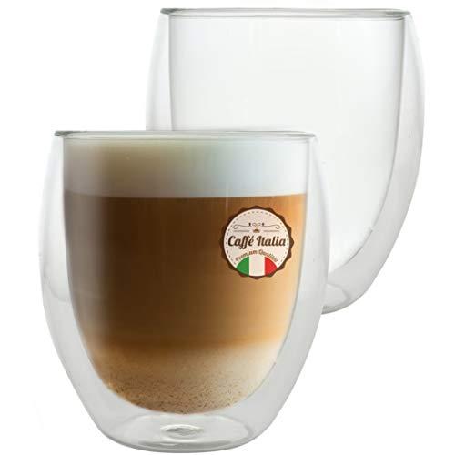 Caffé Italia Roma - 2X Tasse Verre Double Paroi 250 ML - Tasse Cafe pour de Latte Macchiato, Boissons Chaudes et Froides - Lavable au Lave-Vaisselle.