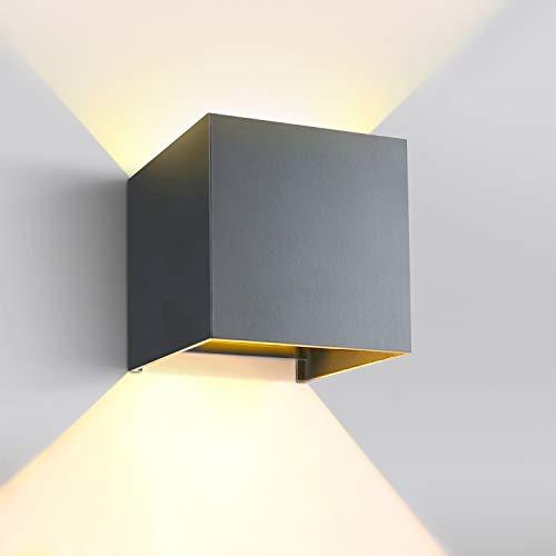 GHB 12W LED Wandleuchte Aussen Innen Wandlampe Modern mit Einstellbarem Abstrahlwinkel Wasserdichte IP 65 Außenlampe 3000K Warmweiß Dunkelgrau