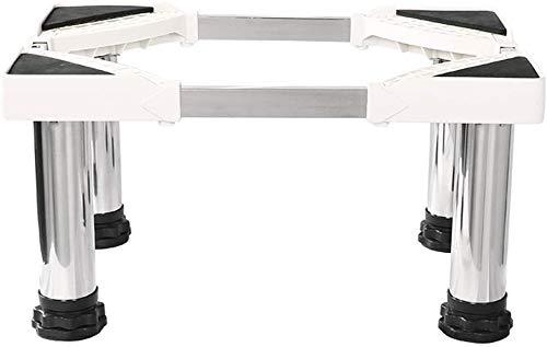 DNSJB Base de lavadora vertical gabinete aire acondicionado base cuadrada altura soporte base de acero inoxidable ajustable 4 pies fuertes para secadora lavadora y refrigerador