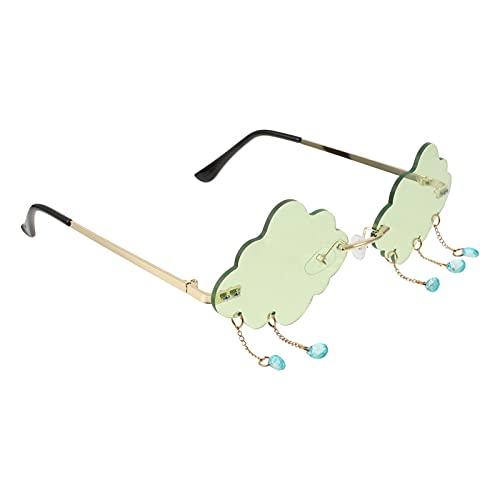 PartyKindom Wolken-Sonnenbrille mit Regenketten, originelle Party-Brille, Foto-Requisite, Dekoration, grün,