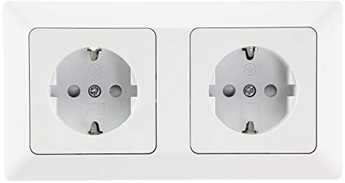 Milos Doppel-Steckdose mit 2-fach Rahmen 230V Steckdosen mit erhöhtem Berührungsschutz Komfort Klemm Anschluss Weiß Matt