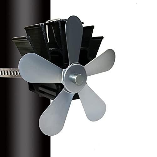 Ventilador de Estufa montado en la Pared, Ventilador de Chimenea de tamaño pequeño con 5 aspas, Ventilador de Tubo de distribución de Calor eficiente, para Estufas de Gas/pellets/leña/l