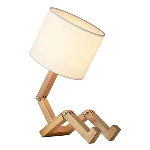 Lámpara de noche Sala de estar compartida lámpara de mesa lámpara de madera Mesita de noche chicos y chicas Dormitorio LED lámpara de mesa de noche ajustable contador de la lámpara Luz de escritorio