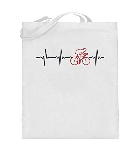 Generisch Fahrrad Herzschlag Retro Jutebeutel | Rennen Radfahrer Vintage Baumwolltasche