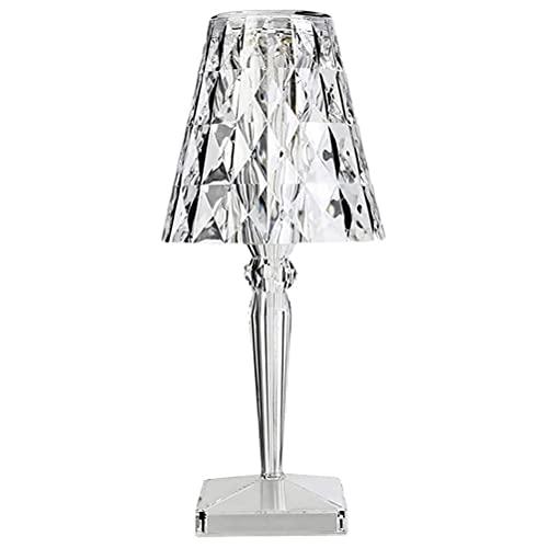 Auplew Battery Lampada da Tavolo in cristallo Crystal Diamond USB ricaricabile touch luce notturna dimmerabile lampada da comodino per camera da letto soggiorno ufficio