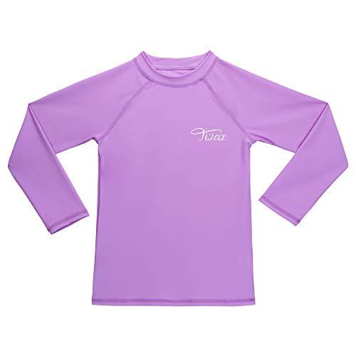 TIZAX Traje de baño con protección Solar Camiseta UV de Manga Larga para niñas Rashguard para Surf/Nadando/Buceo/Playa Violeta Claro 128