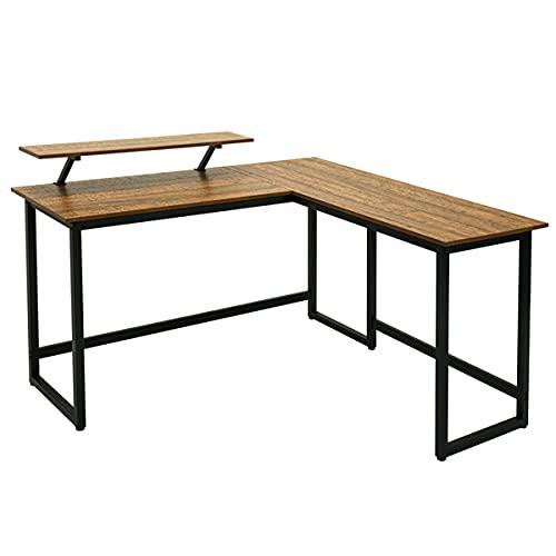 GEEDOOWIN Estación de escritura de escritorio en forma de L de 55 pulgadas con soporte desmontable para monitor para oficina, hogar, salón, dormitorio, roble vintage