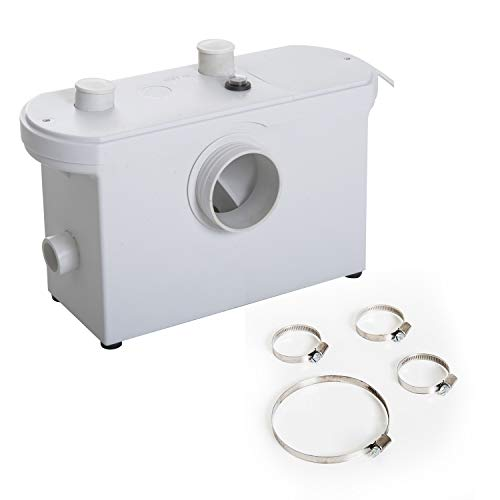 HOMCOM Bomba Trituradora de Agua Residual para Baño Lavabo o Cocina Triturador Sanitario de 600W con 3 Entradas 51x21x31cm