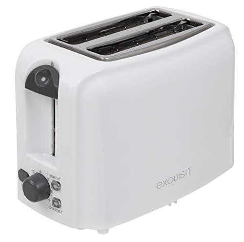 Exquisit Toaster TA 3101 we   2-Scheiben Toaster   760 Watt   Brötchenaufsatz   Krümelschublade   Kabelaufwicklung   weiß