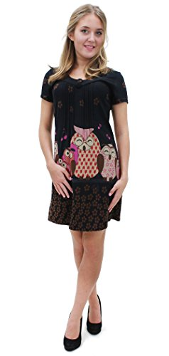 Purplish Strickkleid Singing Owls Dress 7030 (Small, Black)