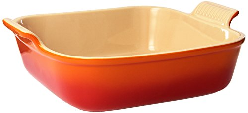 Le Creuset PG0800-232 Heritage Stoneware Square Dish, 3-Quart, Flame
