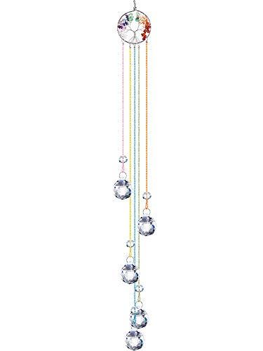 Hicarer Adorno Colgante de Ventana de Cristal Atrapasueños de Prisma de Bola de Cristal Colgante de Cristal de Chakra Adorno de Árbol de Vida Adorno Colgante de Cristal para Decoración de Casa Jardín