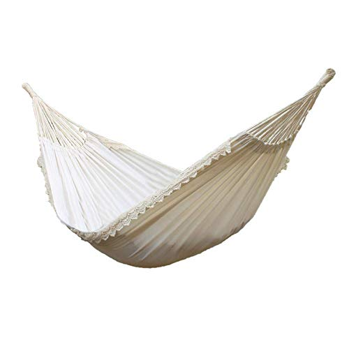 Hamaca de algodón portátil Columpio de Hamaca para Acampar al Aire Libre Silla Colgante Encaje romántico Blanco Puro para Acampar al Aire Libre jardín Carga para Dormir 120 kg