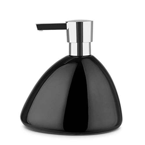 Tingting1992 Dispensador de jabón de cerámica brillante, dispensador de jabón de baño, loción de ducha, dispensador de jabón líquido (color: negro)