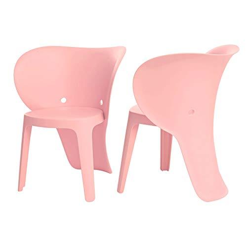 SoBuy KMB12-Px2 Lot de 2 Chaise Enfant Design Chaise pour Enfants Siège Garçons et Filles Confortable Éléphant Rose - Haute Qualité