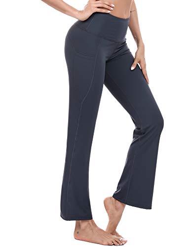 Sykooria Pantalones de Yoga Bootcut con Bolsillo para Mujer Pantalón Deportivos de Cintura Alta Pants de Control de Barriga Pilates Trabajo Correr Baile Fitness