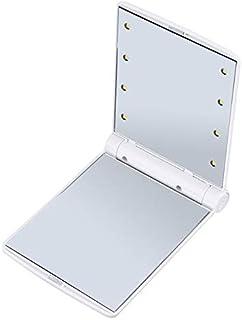 مرايا ماكياج - منخفضة الطاقة محمولة حجم 8 مصابيح ليد للنساء مرآة ماكياج الوجه مرآة قابلة للطي (بيضاء)