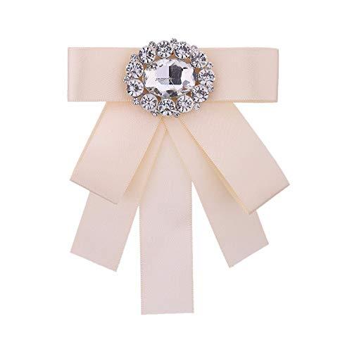 THTHT stropdas bogen broche strass doek kunst pins en broches dames blouse kraag decoratie bruidegom sieraden badge rijst wit