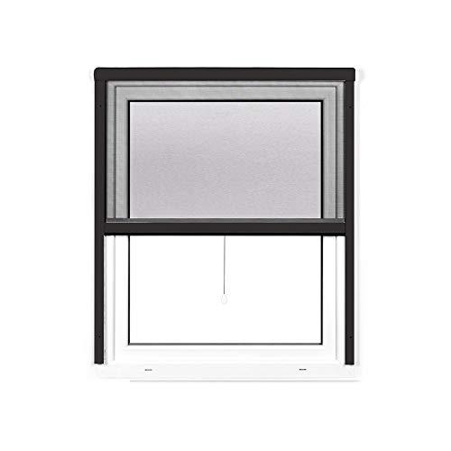 jarolift 4 in 1 Zanzara Insektenschutzrollo Fliegengitter für Fenster, Bausatz mit Aluminium-Rahmen, robustes Fiberglas-Gewebe, 100 x 160 cm (B x H), Anthrazit