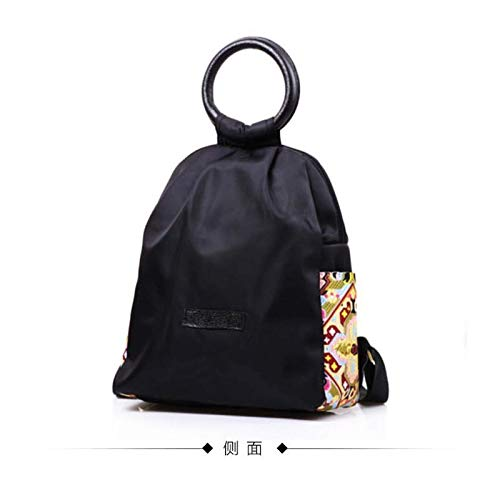 Leather Loop Waterproof Oxford Cloth Nylon Embroidered Ethnic Travel Backpack Backpack