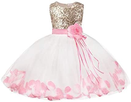 Bowdream Flower Girl s Dress Rose Gold Sequins Blush Pink Petals 6 Years product image