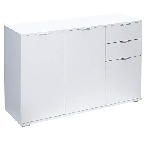 Deuba Kommode Sideboard Alba mit 2 Schubladen & 3 Türen - 107 x 74 x 35 cm Anrichte Beistellschrank Holz, Weiß
