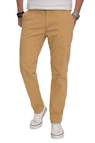 A. Salvarini Herren Designer Chino Stoff Hose Chinohose Regular Fit AS016 AS-016-Beige-W30-L32