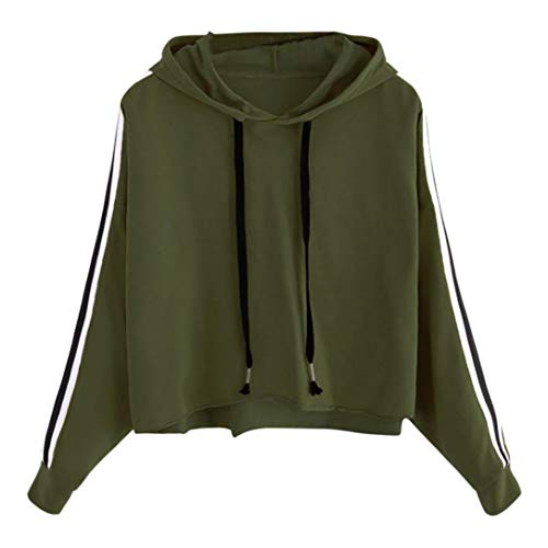 iHENGH Sweatshirt, Damen Gestreifter langärmel Hoodie Sweatshirt Jumper Kapuzen Pullover Tops Bluse