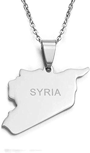 AOAOTOTQ Co.,ltd Collar Siria Mapa Collares 316 encantos de Acero Inoxidable Collares Pendientes Joyería Siria Oriente Medio