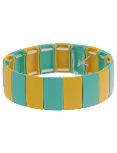Leslii Damen-Armband XXL-Armreif Streifen-Muster Statement-Armband breiter Armreif buntes Modeschmuck-Armband Gelb Grün