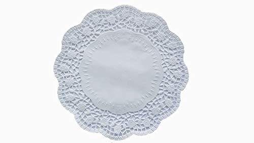 gastro 100 Stück Deko Tortenspitzen Rund Weiß Papier Durchmesser: 20 cm