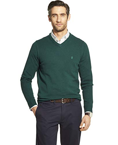 IZOD Men's Premium Essentials Solid V-Neck 7 Gauge Sweater, BOTANICAL GARDEN, Medium