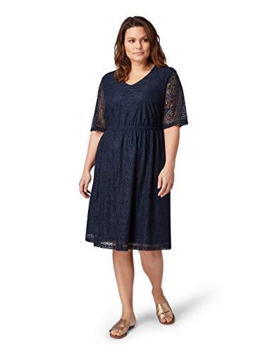 Tom Tailor Casual Damen Grosse Grössen 1012233 Kleid Blau (Real Navy Blue 10360), Herstellergröße: 48