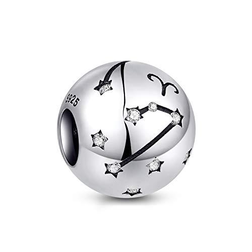 NINGAN Aries Encantos del Cumpleaños de 12 Signos del Zodiaco - Encantos de Plata Esterlina de 925 Ajustan Pulsera & Collar- Regalos de cumpleaños Ideales para Mujeres y Amigos