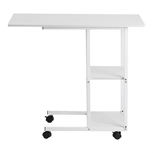 Wakects Mesa auxiliar, mesa lateral portátil en forma de C, móvil sobre mesa auxiliar, sofá, mesa de salón, con ruedas, mesa para ordenador portátil