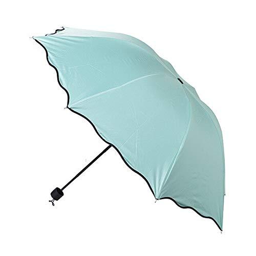 BDWS Regenschirm Magische Blumenmode einfache ultraviolette Kuppel Sonne Regen Falten klare Regenschirme Kinder weibliche Sonnencreme Regenschirm Winddicht Australien Mint Green